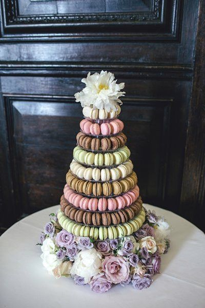 pastel tower of macarons by Anges de Sucres