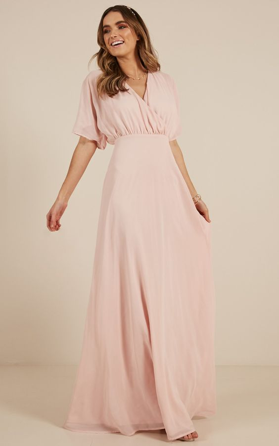 blush and rose chiffon dress