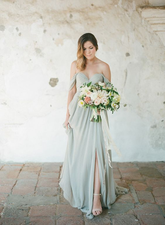 pale green with pink wedding gown