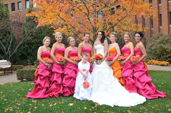 hot pink orange wedding inspiration modern brides