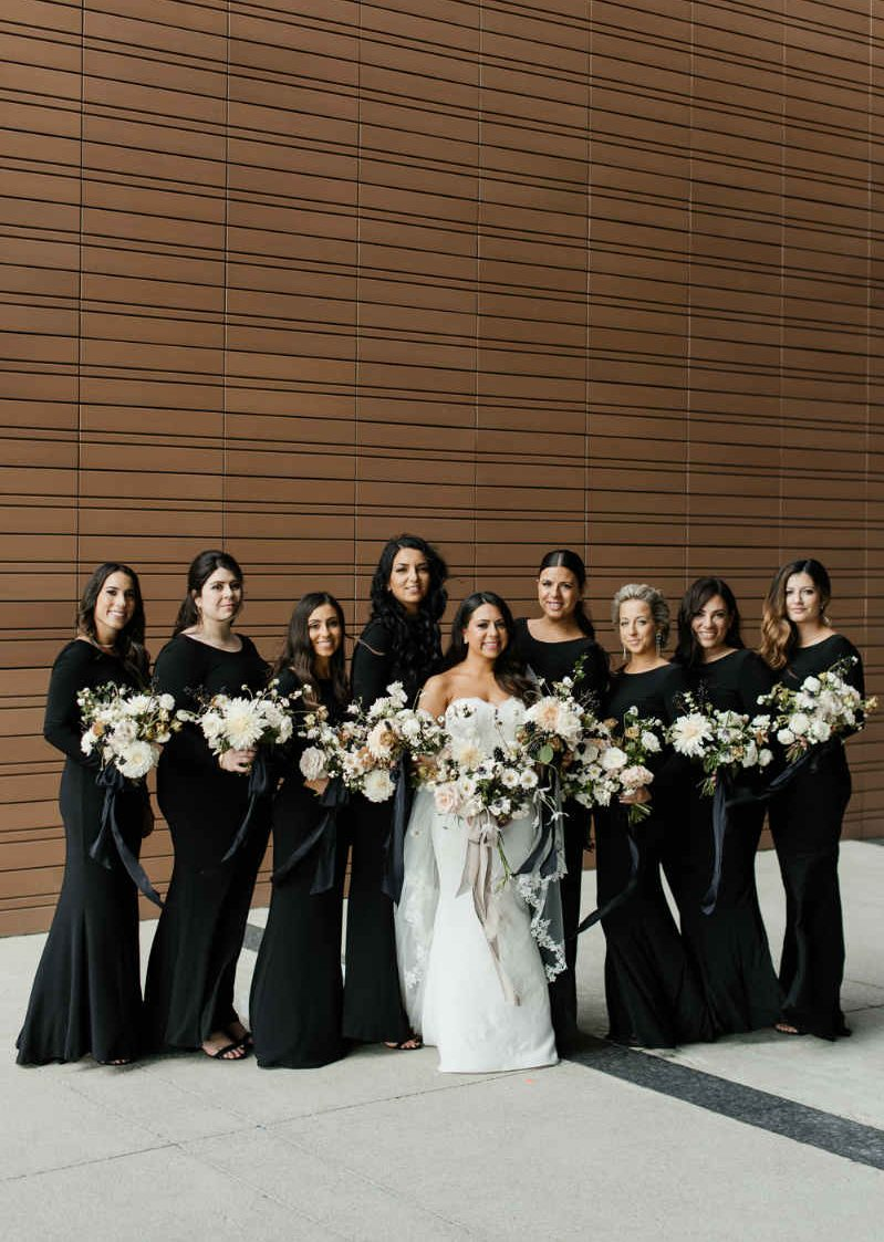 Black and white them bridesmaids
