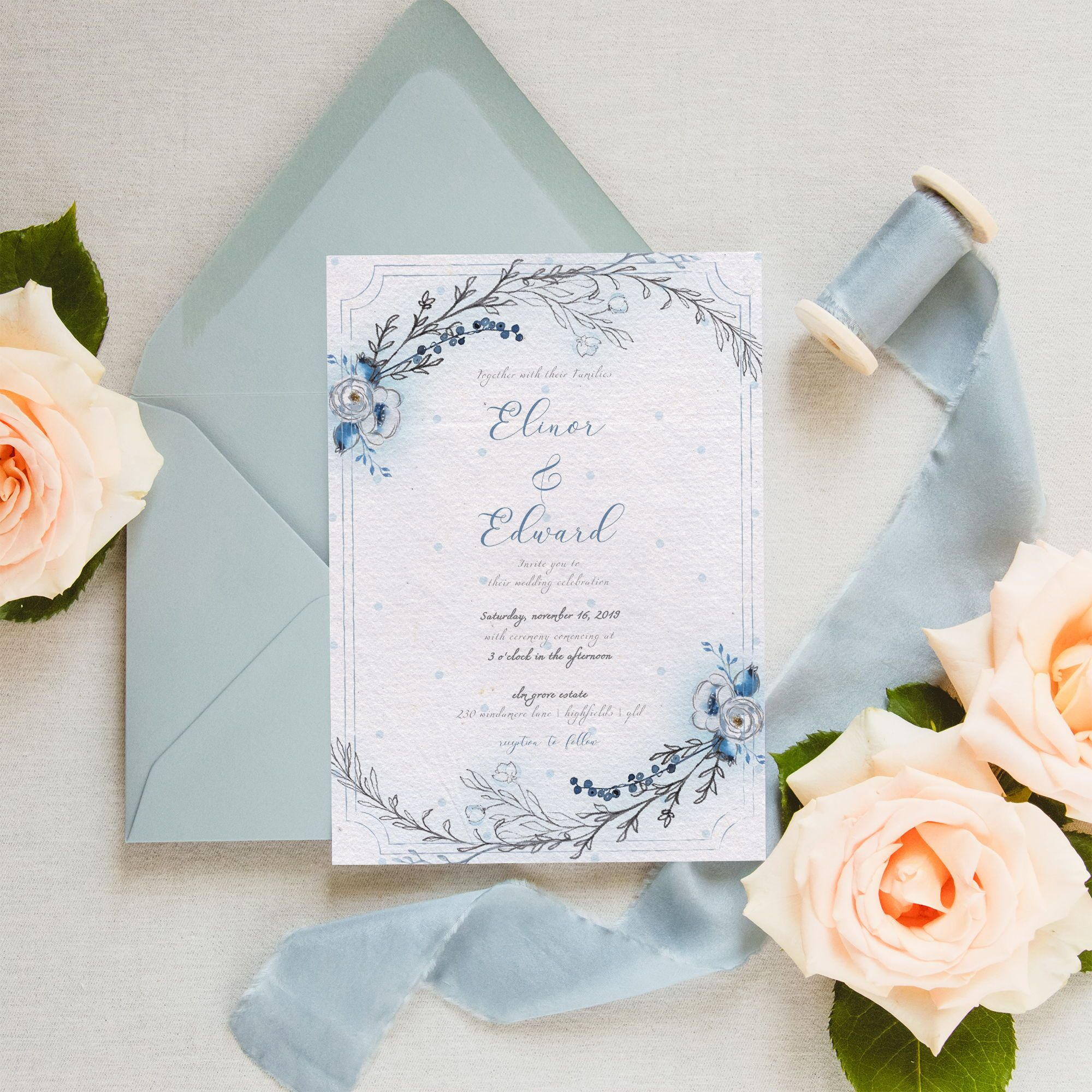 Elinor Rose's Deco Wrap invitation